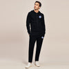 A&F Slim Fit Zipper Gathering Bottom Fleece Track Suit For Men-Black-BE6428