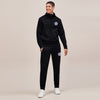 A&F Slim Fit Zipper Gathering Bottom Fleece Track Suit For Men-Black-BE6431