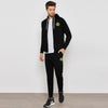 A&F Slim Fit Zipper Fleece Track Suit For Men-Black-BE6447
