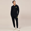 A&F Slim Fit Zipper Gathering Bottom Fleece Track Suit For Men-Black-BE6446
