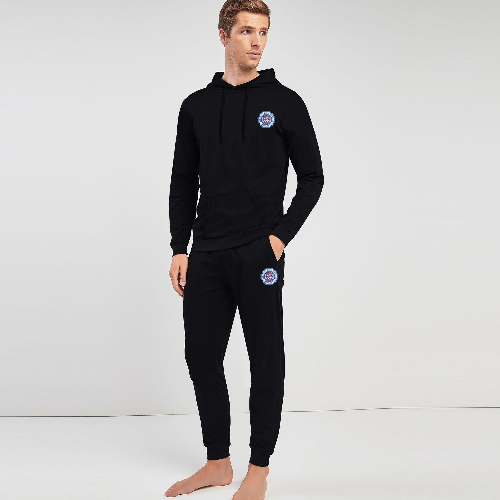 A&F Slim Fit Pullover Rib Bottom Fleece Track Suit For Men-Black-BE6449