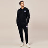 A&F Slim Fit Zipper Rib Bottom Fleece Track Suit For Men-Black-BE6430