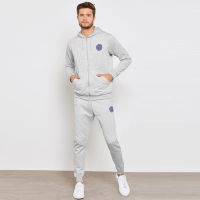 A&F Slim Fit Zipper Rib Bottom Fleece Track Suit For Men-Grey Melange-BE6515