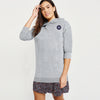 A&F Terry Fleece Long Pullover Hoodie For Ladies-Grey Melange-BE7037