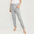 NK  Summer Terry Slim Fit Jogging Trouser For Ladies-Grey Melange with White Embroidery-SP4246