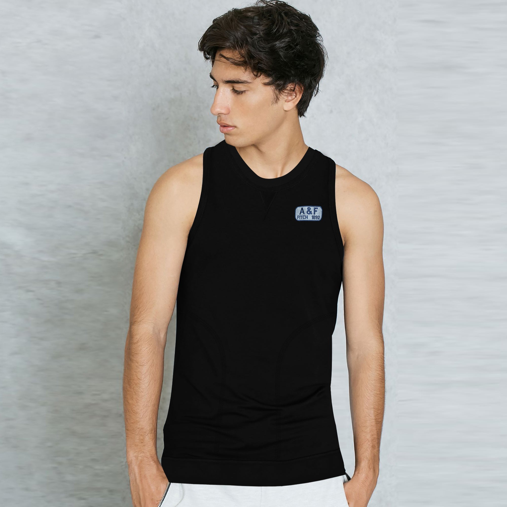 A&F Terry Fleece Sleeveless Shirt For Men-Black-BE6525