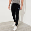 A&F Terry Fleece Straight Fit Jogger Trouser White & Navy Embroidery For Men-Black-BE6989