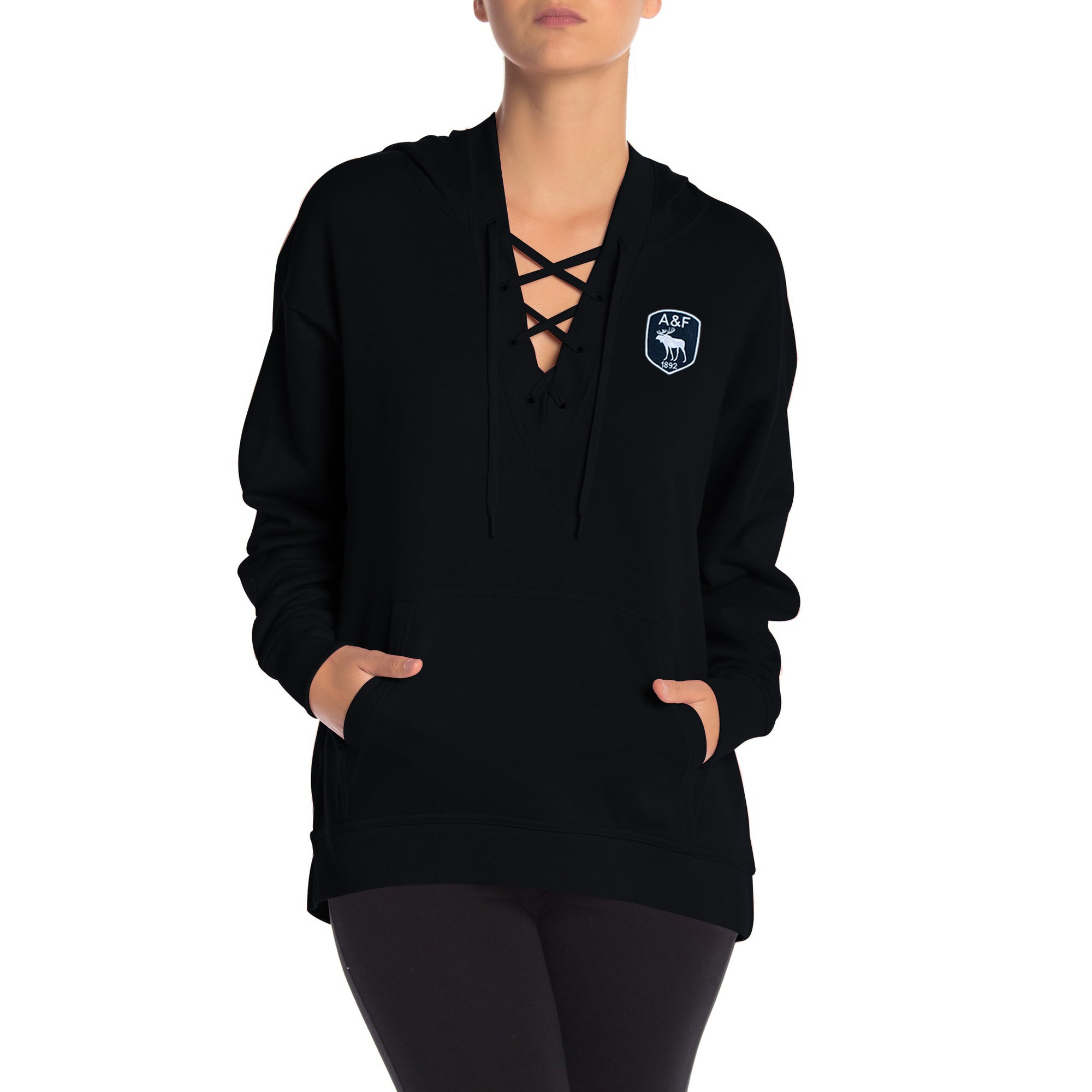 A&F Terry Fleece V Neck Stylish Pullover Hoodie For Ladies-Black-BE6732