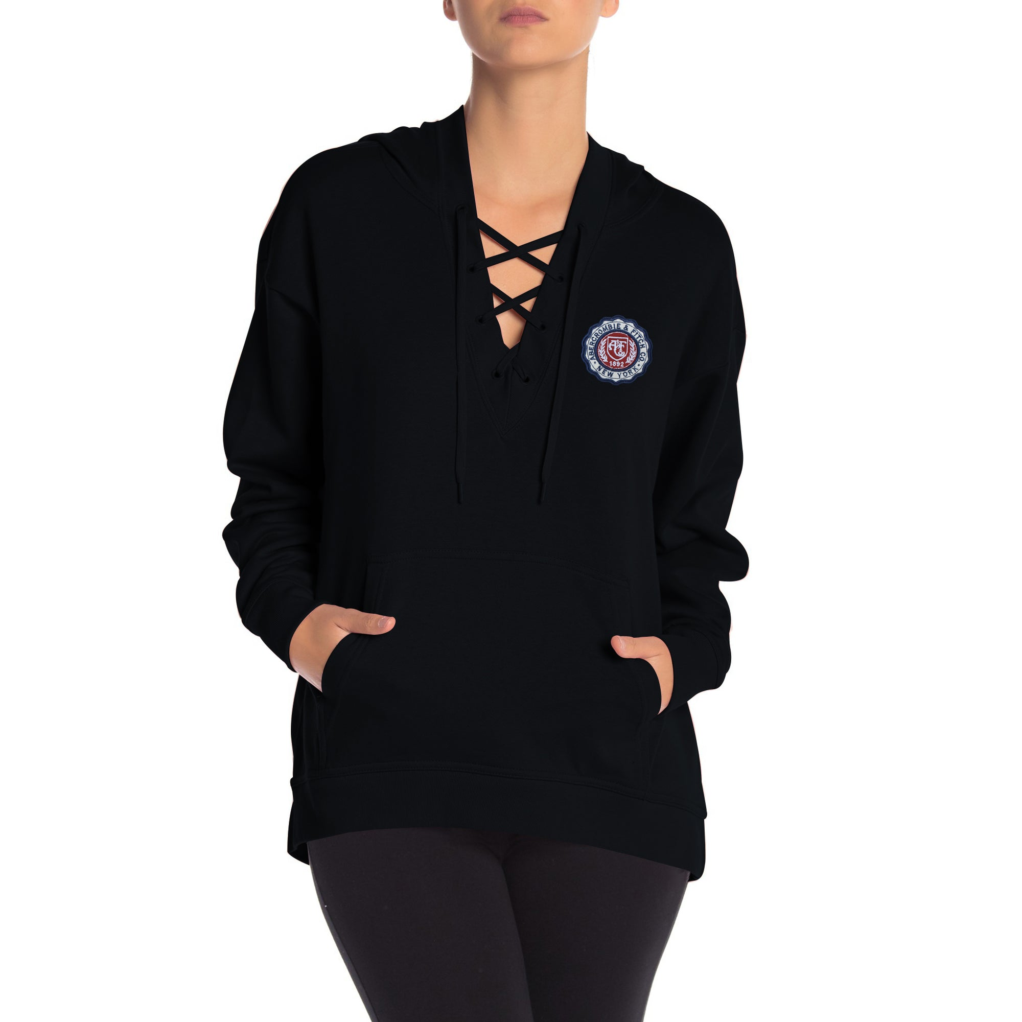 A&F Terry Fleece V Neck Stylish Pullover Hoodie For Ladies-Black-BE7040