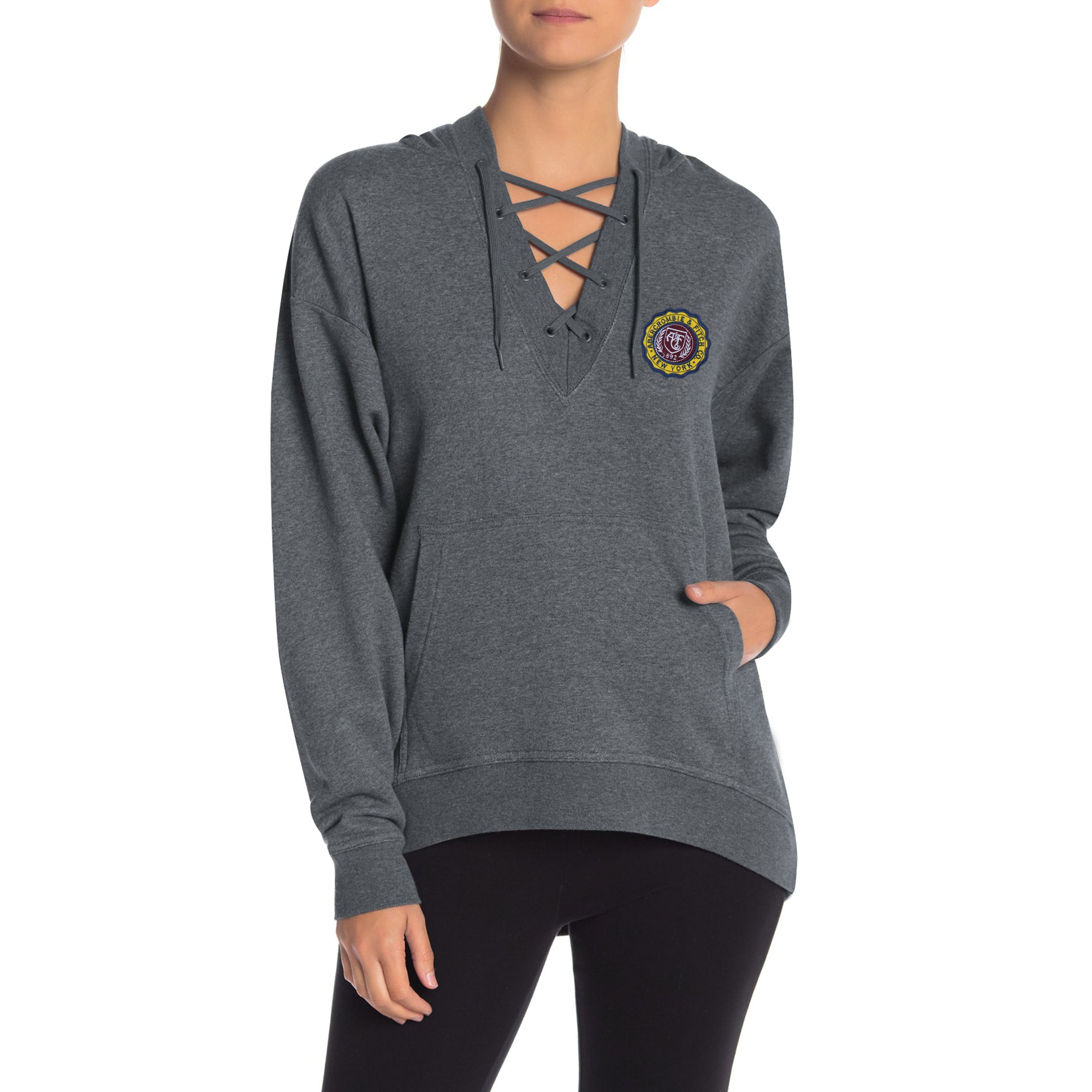 A&F Terry Fleece V Neck Stylish Pullover Hoodie For Ladies-Charcoal Melange-BE6963