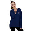 A&F Terry Fleece V Neck Stylish Pullover Hoodie For Ladies-Dark Blue-BE6949
