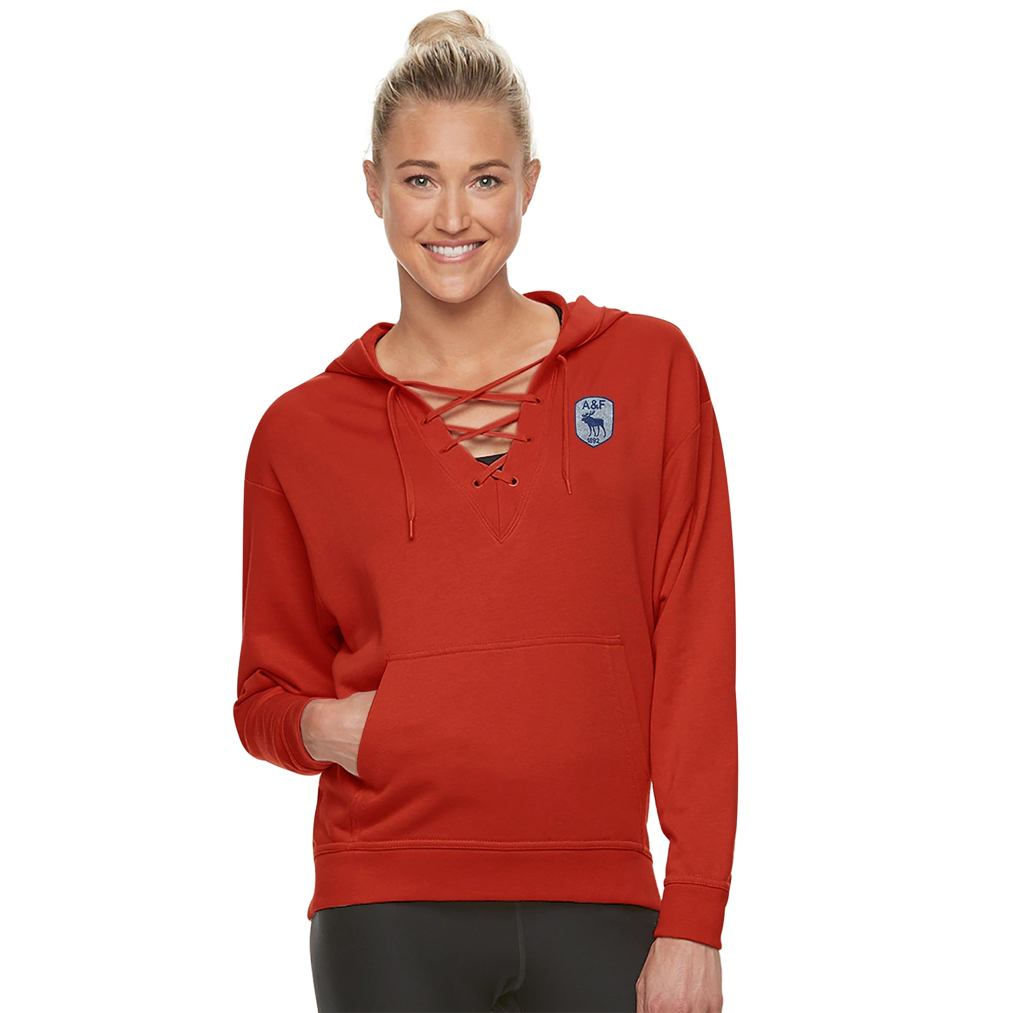 A&F Terry Fleece V Neck Stylish Pullover Hoodie For Ladies-Dark Orange-BE7123