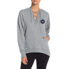 A&F Terry Fleece V Neck Stylish Pullover Hoodie For Ladies-Grey Melange-BE6961