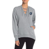 A&F Terry Fleece V Neck Stylish Pullover Hoodie For Ladies-Grey Melange-BE7180