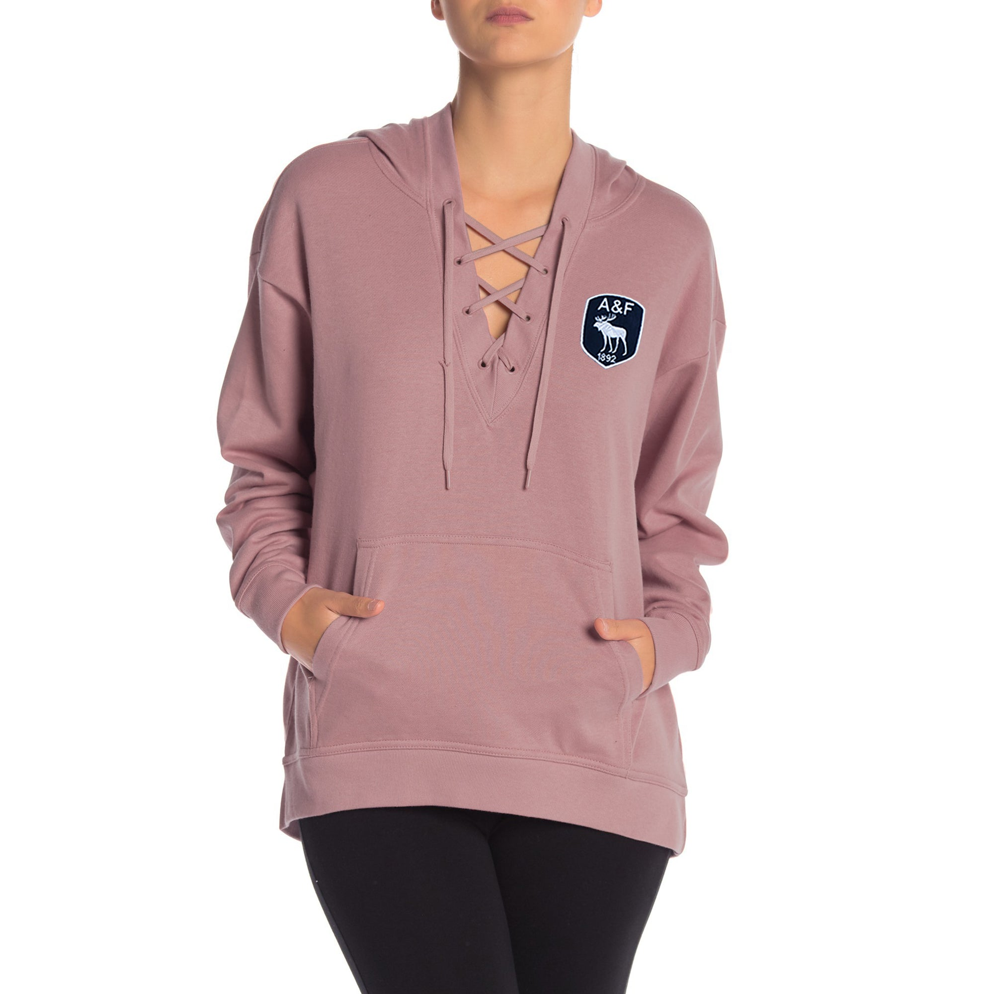 A&F Terry Fleece V Neck Stylish Pullover Hoodie For Ladies-Light Pink-BE7393