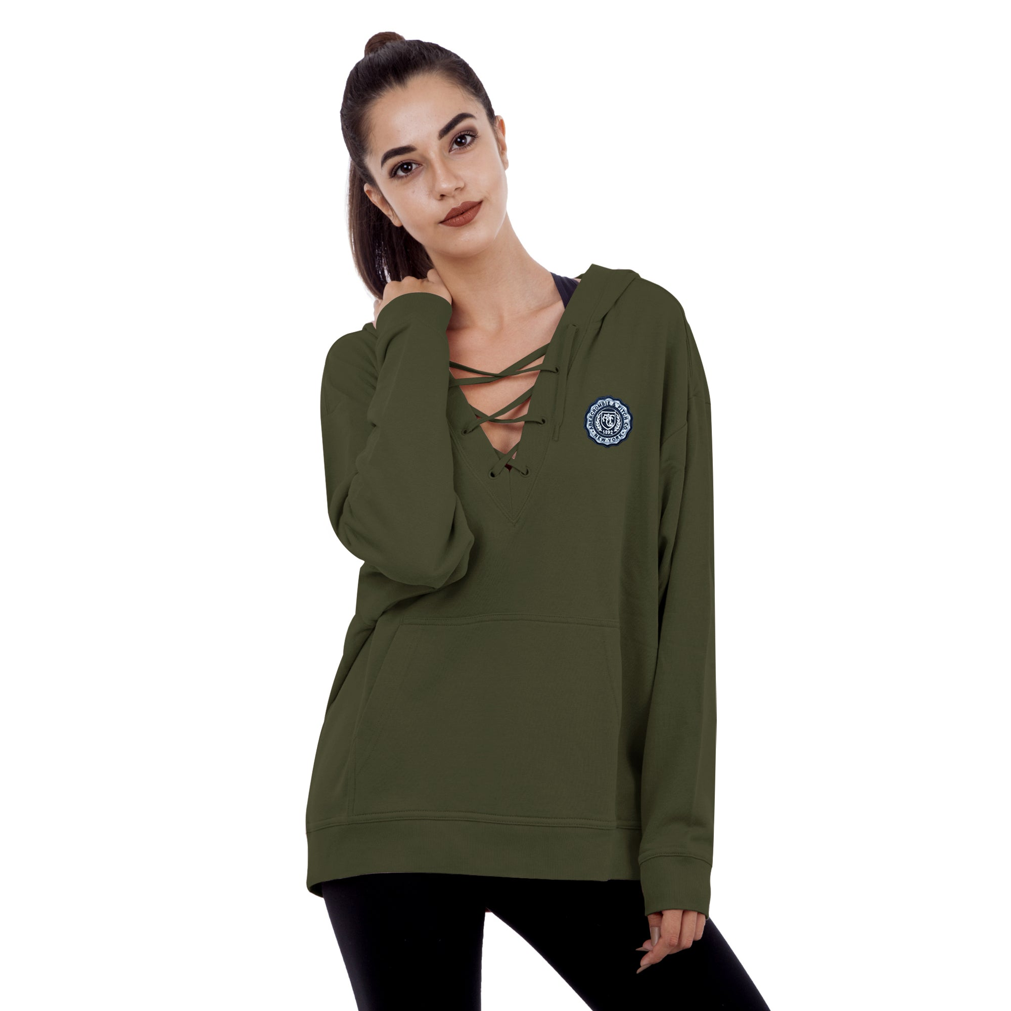 A&F Terry Fleece V Neck Stylish Pullover Hoodie For Ladies-Olive-BE7031