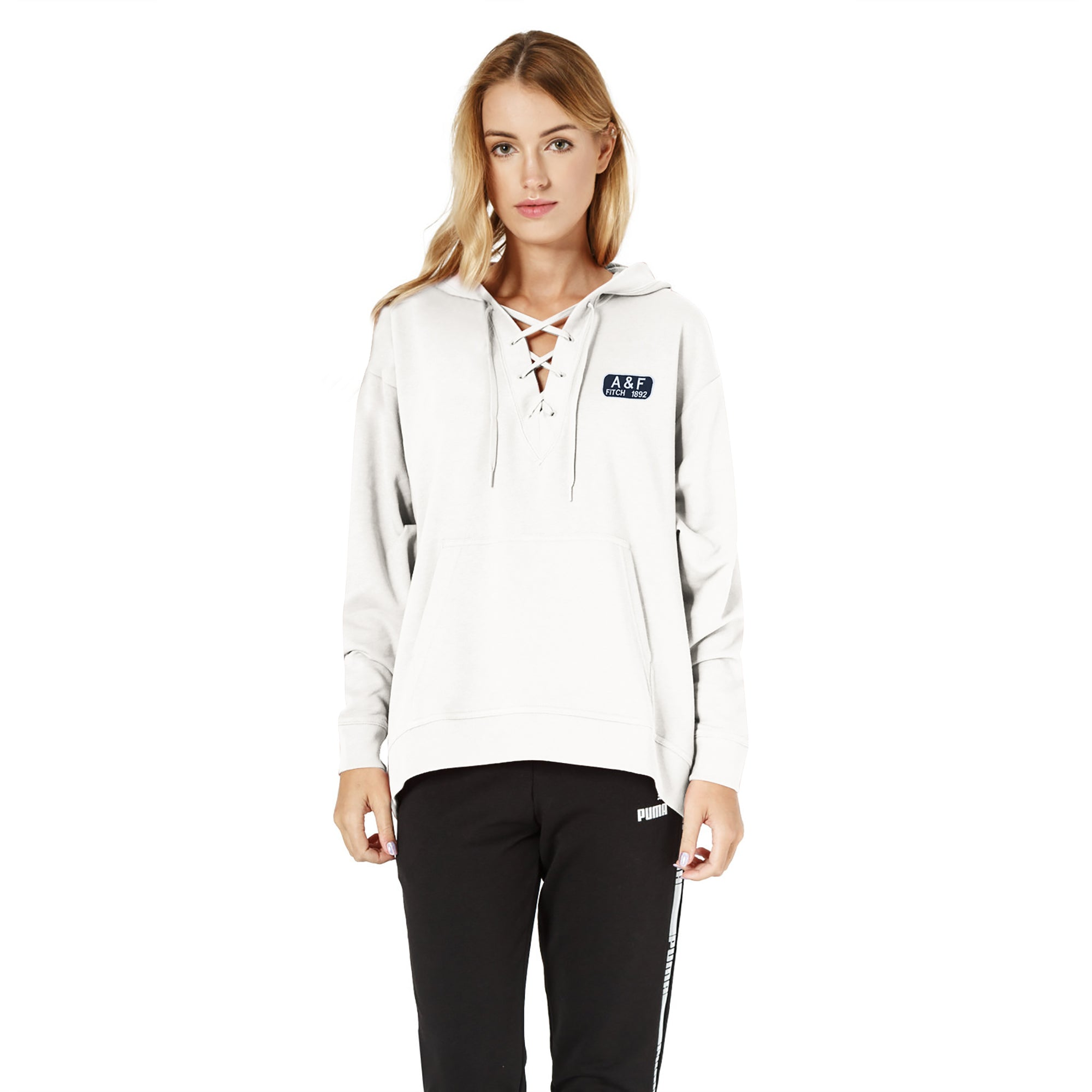 A&F Terry Fleece V Neck Stylish Pullover Hoodie For Ladies-White-BE6951