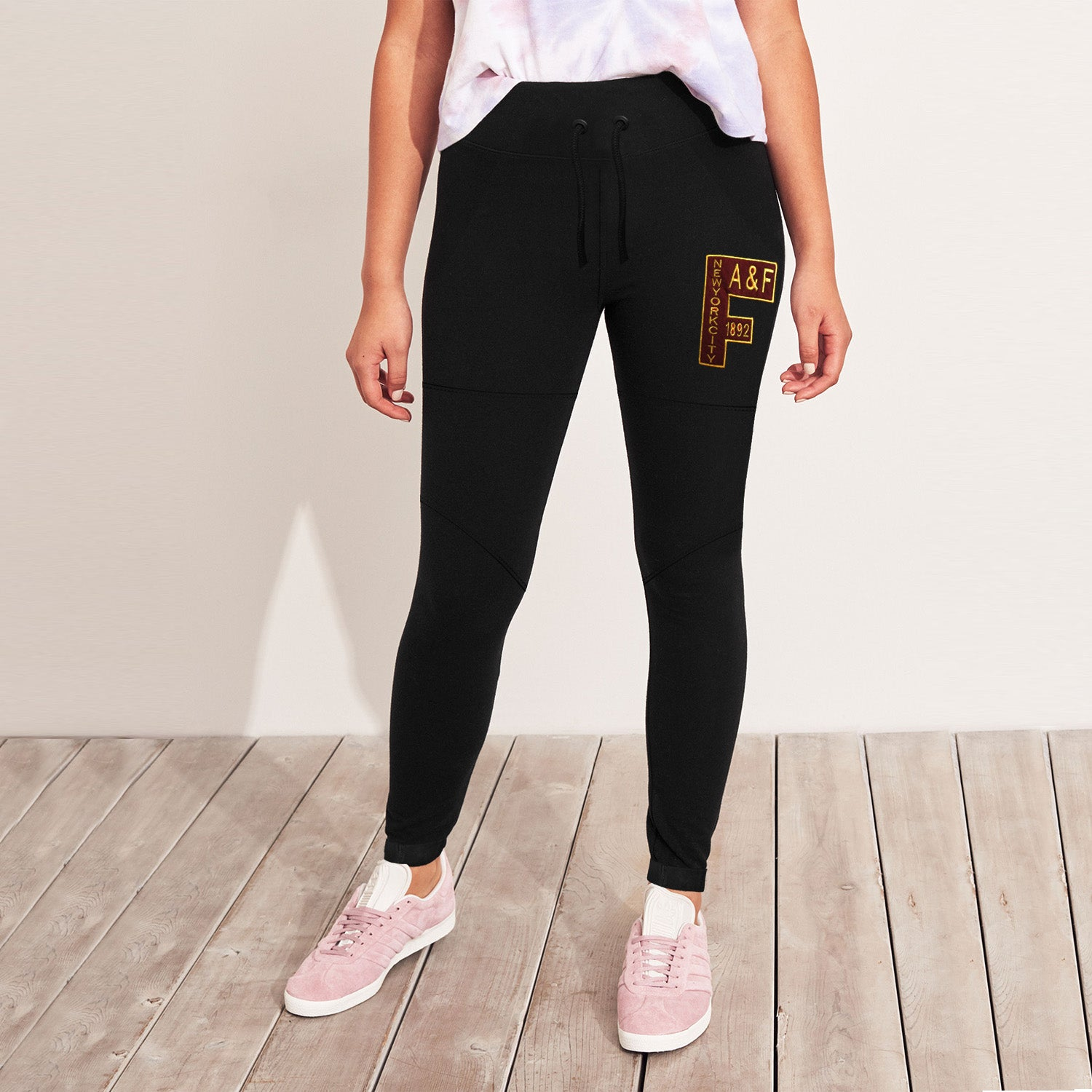 A&F Terry Fleece Yellow & Maroon Embroidery Slim Fit Jogger Trouser For Ladies-Black-BE9730