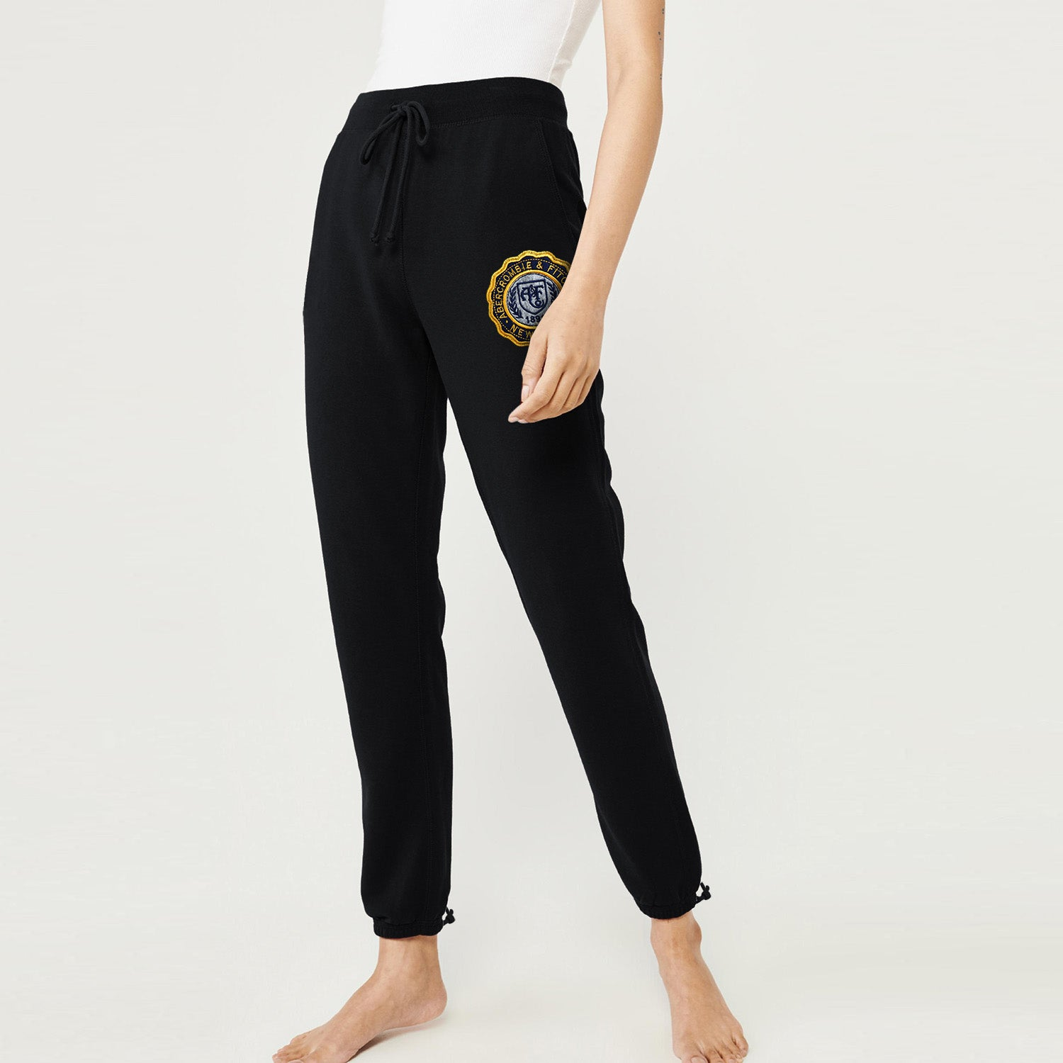 A&F Terry Fleece Yellow Navy & Grey Embroidery Gathering Jogger Trouser For Ladies-Black-BE9733