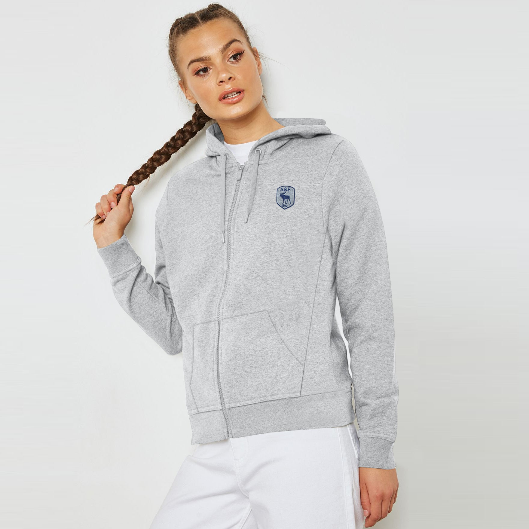 A&F Terry Fleece Zipper Hoodie For Ladies-Grey Melange-BE7015