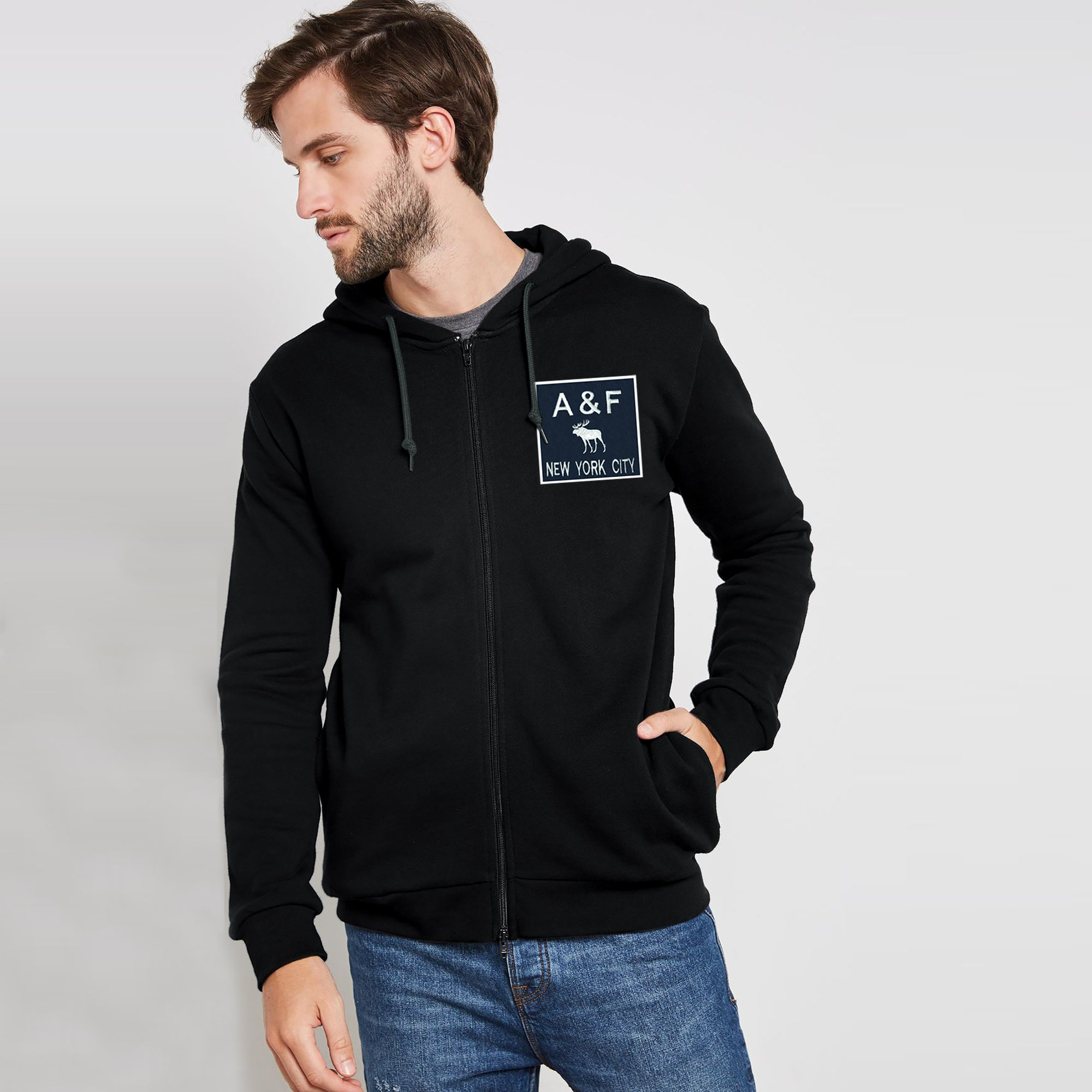 A&F Terry Fleece Zipper Hoodie For Men-Black-BE7905