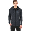 A&F Terry Fleece Zipper Hoodie White & Navy Embroidered For Men-Light Black Melange-BE7228