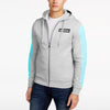 Addias Slim Fit Stretchable Zipper Hoodie For Men-Grey Melange with Sky Panel-BE11105