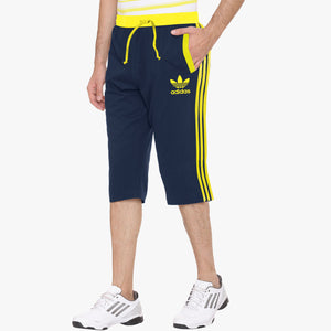 Adidas Cotton Short For Men-Dark Navy & Yellow Stripe-BE5491