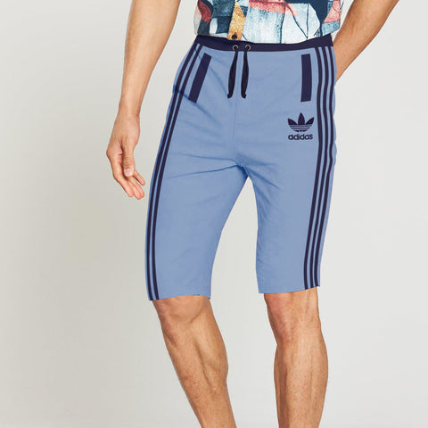 Adidas Cotton Short For Men-Light Sky & Navy Stripe-BE5493