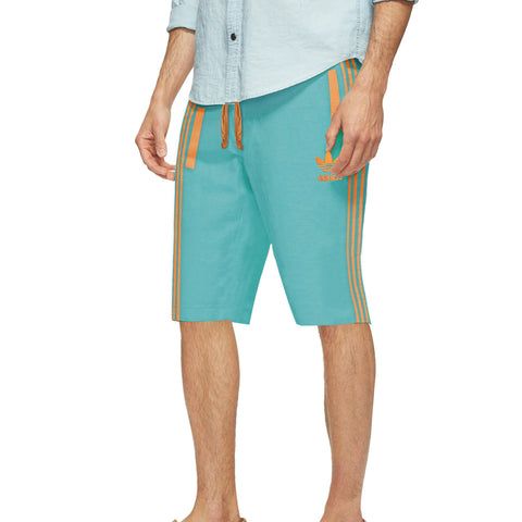 Adidas Cotton Short For Men-Sea Green & Orange Stripe-BE5494