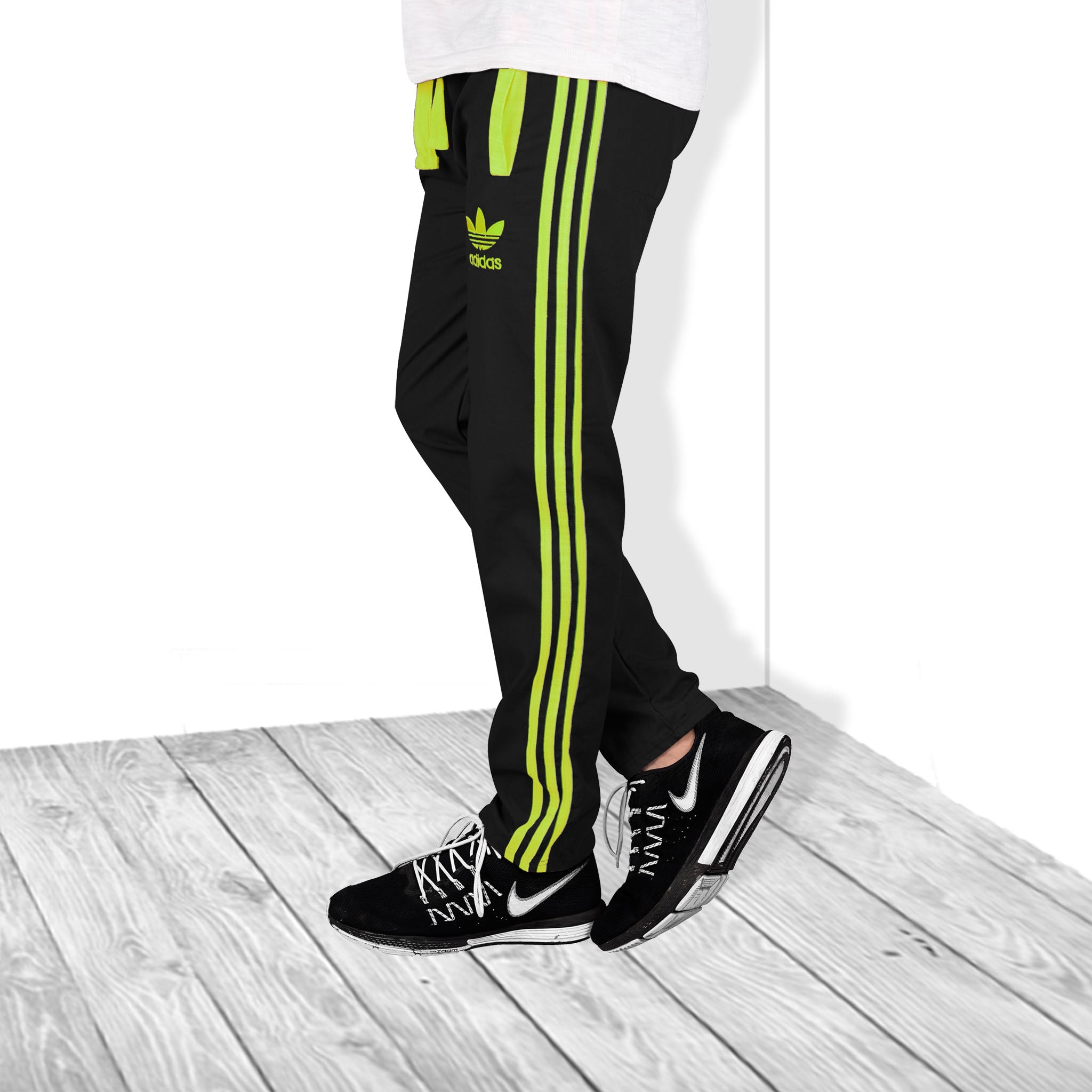 Adidas Cotton Trouser For Men-Black With Parrot Stripe-BE5307