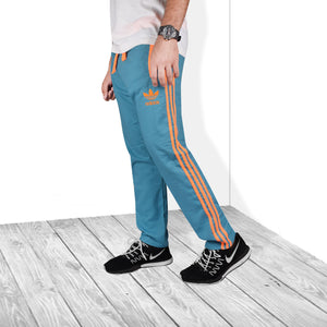 Adidas Cotton Trouser For Men-Dark Ferrozi & Orange Stripe-BE5073