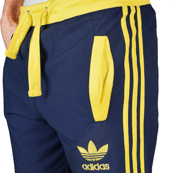 Adidas Cotton Trouser For Men-Navy with Yellow Stripe-BE4957