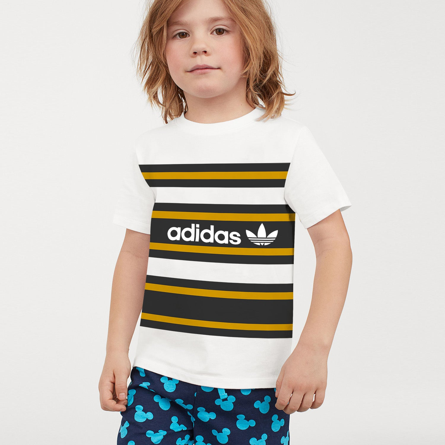 ADS Crew Neck Single Jersey Tee Shirt For Kids-White with Yellow & Dark Navy Panels-BE12037
