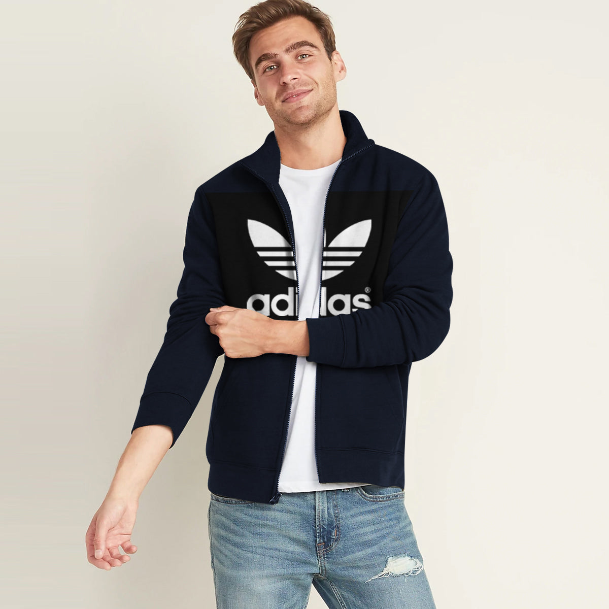 Adidas Fleece Full Zipper Mock Neck Jacket For Men-Dark Navy-BE11122