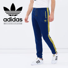 Adidas Cotton Trouser For Men-Dark Blue with Light Yellow Stripes-BE2330