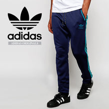 Adidas Cotton Trouser For Men-Dark Navy with Sky Blue Stripes-BE2332