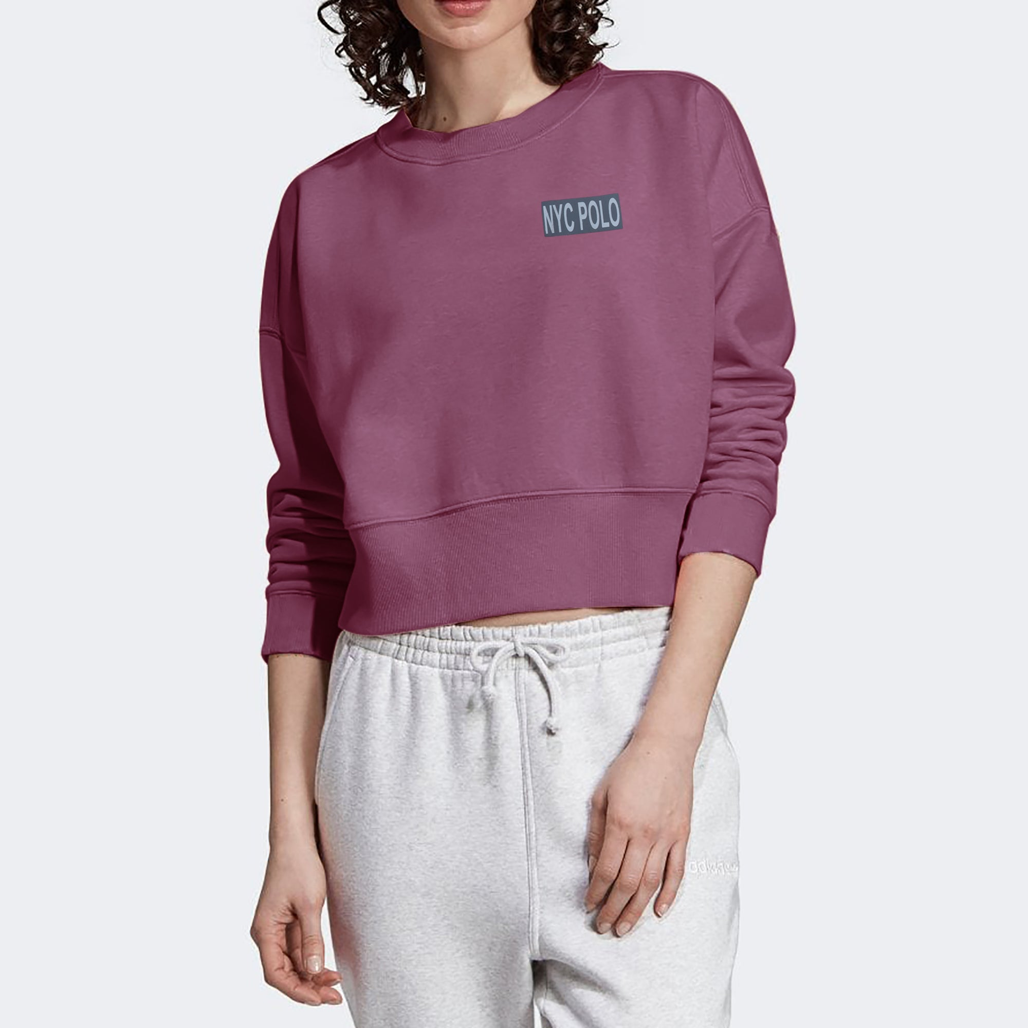 Nyc Polo Fleece Crop Sweatshirt For Women-Dark Magenta-SP1133