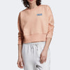Nyc Polo Fleece Crop Sweatshirt For Women-Peach-SP1143