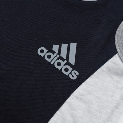 brandsego - Adidas P.Q & Single Jersey Sport Suit For Kids-Dark Navy & Grey Melange-BE8963