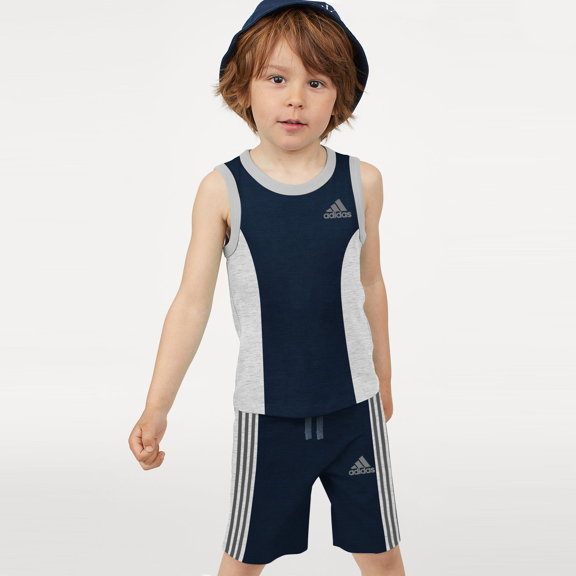 Adidas P.Q & Single Jersey Sport Suit For Kids-Navy & Grey Melange-BE8940