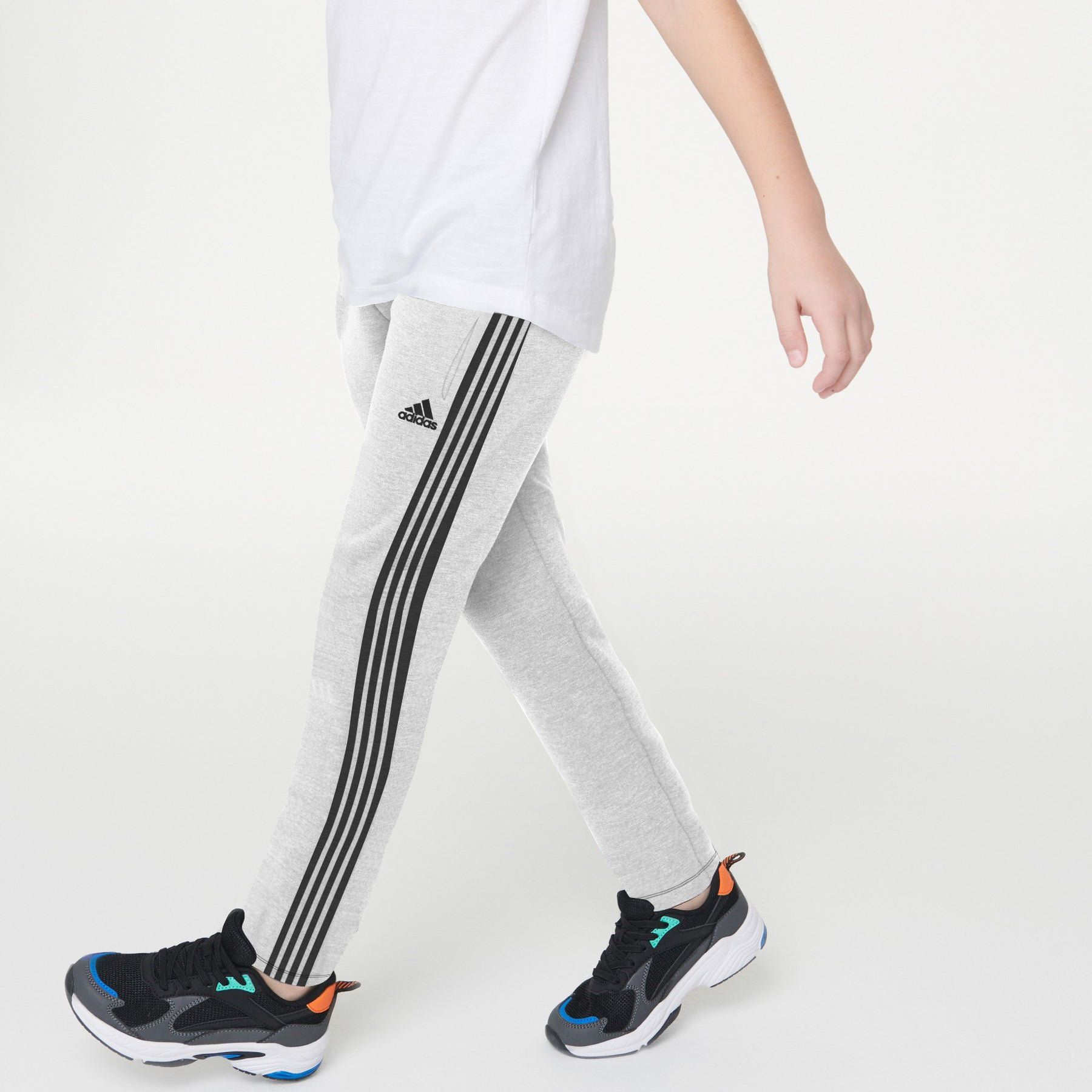 Adidas Single Jersey Jogger Trouser For Kids-Grey Melange With Stripes-BE8703