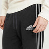 brandsego - Adidas Single Jersey Regular Fit Trouser For Men-Charcoal Melange with Grey & Black Stripe-BE8656