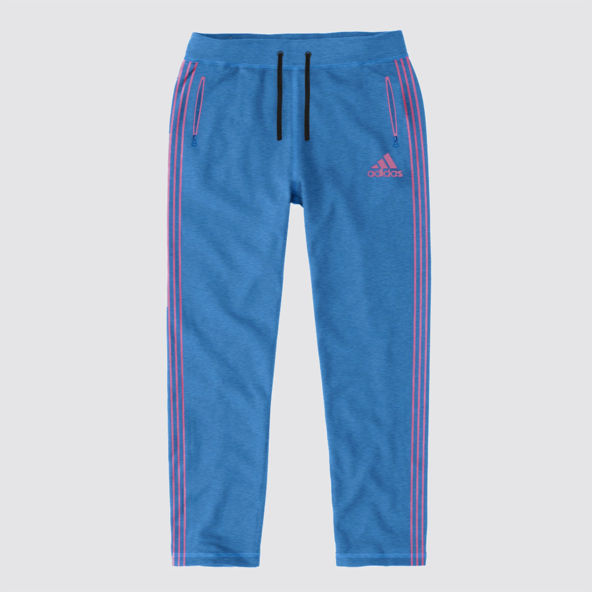 Adidas Single Jersey Regular Fit Trouser For Men-Dark Sky Melange with Pink Stripe-BE10923