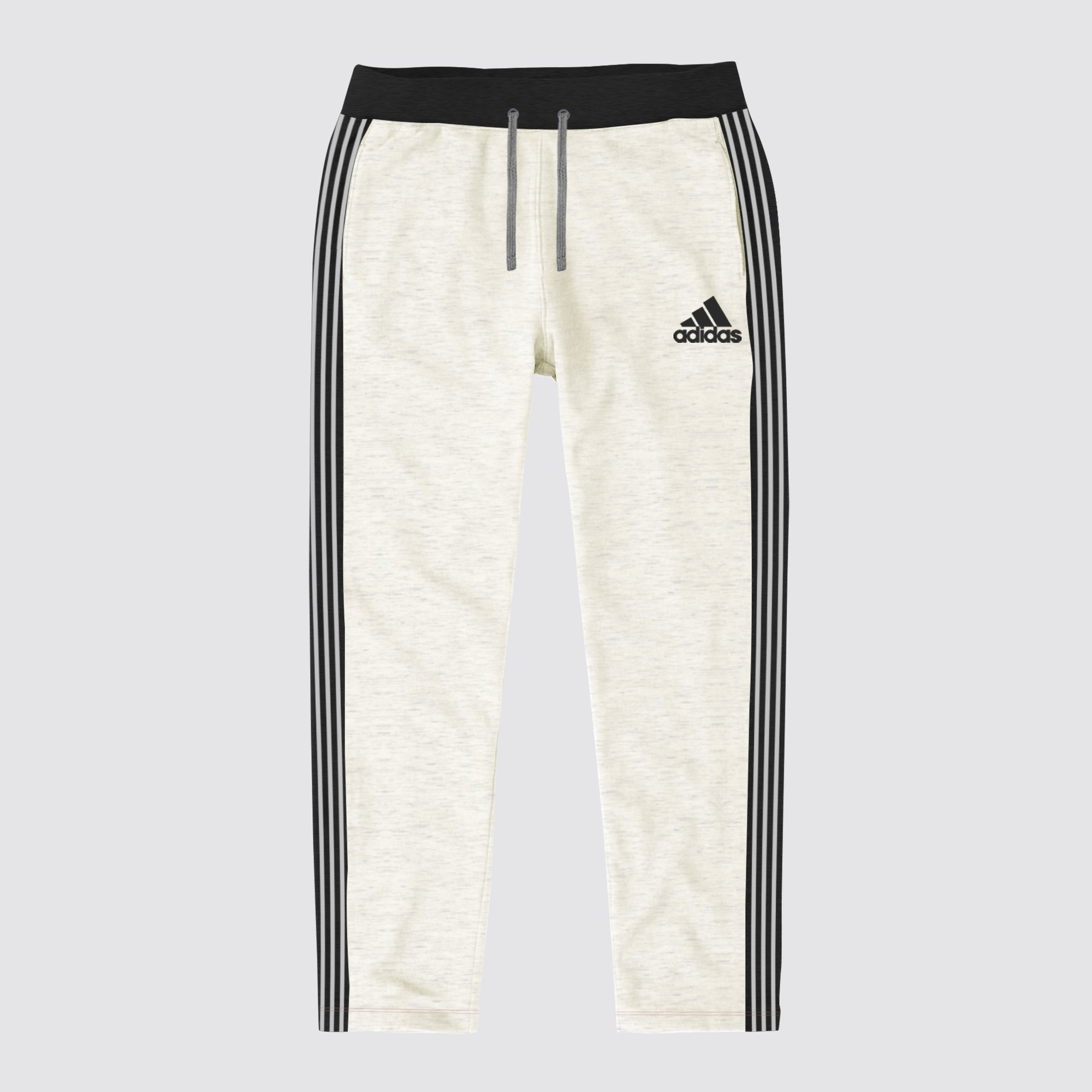 Adidas Single Jersey Regular Fit Trouser For Men-Light Yellow Melange with Charcoal & Grey Stripe-BE8676