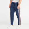 Adidas Single Jersey Regular Fit Trouser For Men-Navy Melange with Light Pink & Black Stripe-BE8781