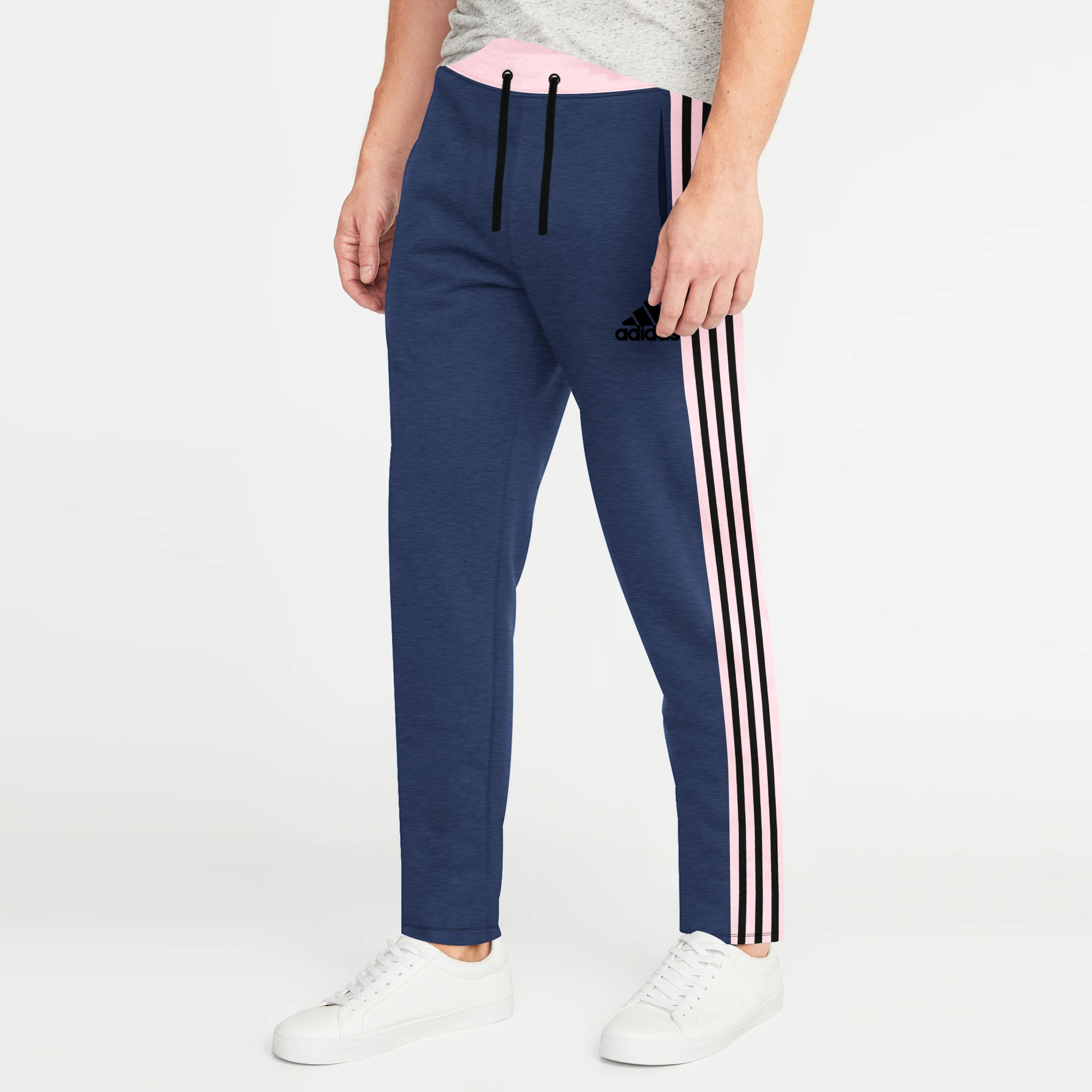 brandsego - Adidas Single Jersey Regular Fit Trouser For Men-Navy Melange with Light Pink & Black Stripe-BE8781
