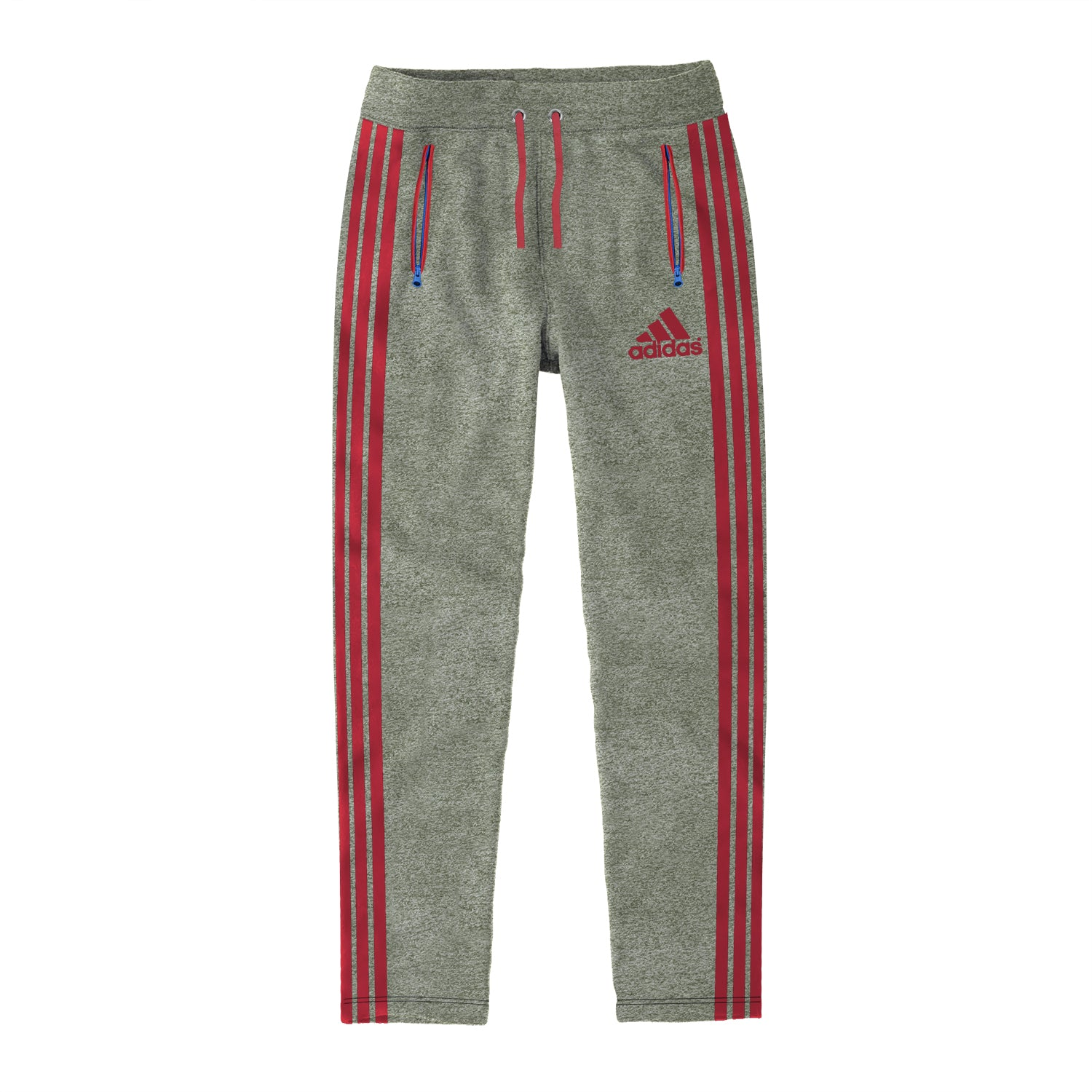 Adidas Single Jersey Regular Fit Trouser For Men-Olive Melange with Red Stripe-BE9440