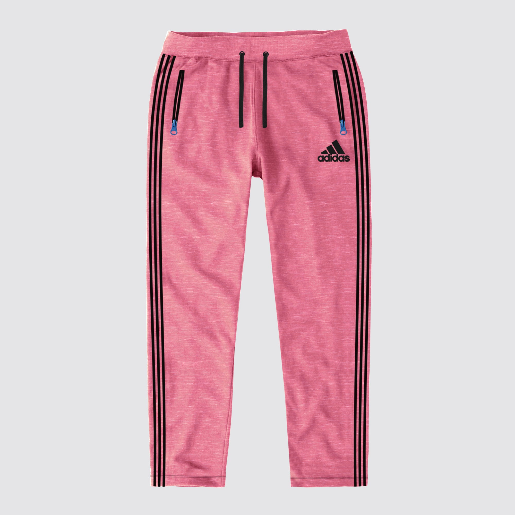 Adidas Single Jersey Regular Fit Trouser For Men-Pink Melange & Dark Navy Stripe-BE8680