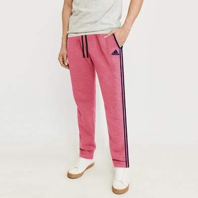 brandsego - Adidas Single Jersey Regular Fit Trouser For Men-Pink Melange & Dark Navy Stripe-BE8680